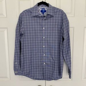 Egara Non Iron Slim Fit Blue/White Dress Shirt